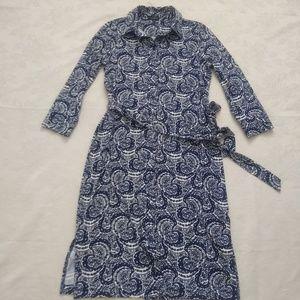 Talbots baroque blue print belted shirt dress